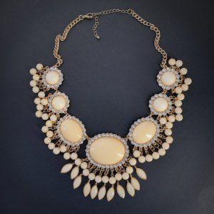 Statement Bib Necklace Ivory Rhinestones Stunning!